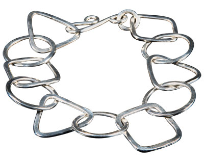 Geometric Links Bracelet teaches jump ring shaping, fine soldering, working with heavy-gauge wire, and making a clasp, as well as tumbling and finishing