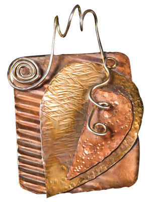 In Mixed Metal Collage Pendant, learn principles of composition, punch and cut sheet metal, and cold connect with rivets. Wire work bail and flame patinas