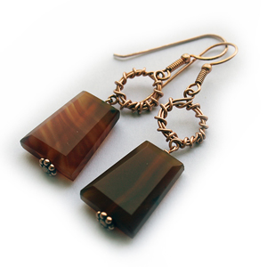 Albina Manning's 2-Loop Link Earrings with Carnelian stones for Wire-Sculpture.com
