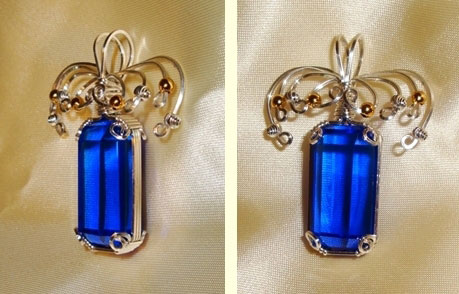 Wire Wrapped Blue Quartz Crystal