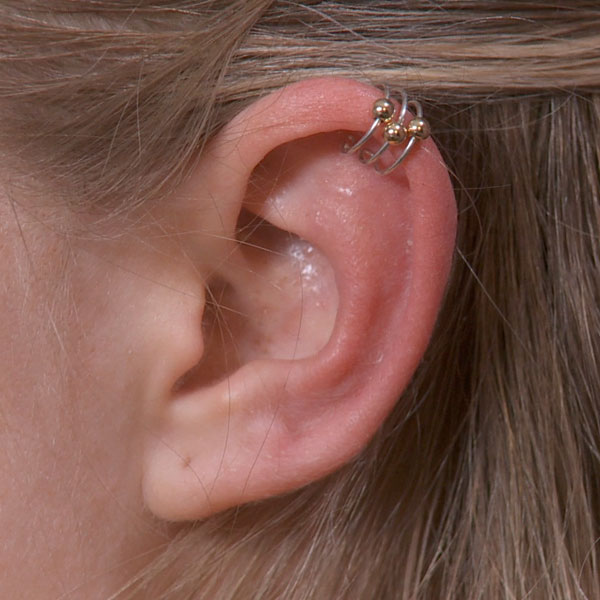 Ear Cuff with Gold Beads
