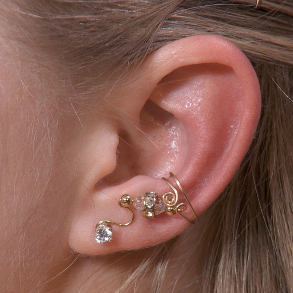 Single Bead Ear Cuff with Crystals and Rondelles
