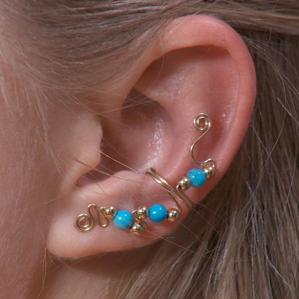 Three Bead Ear Cuff with Top Embellishment