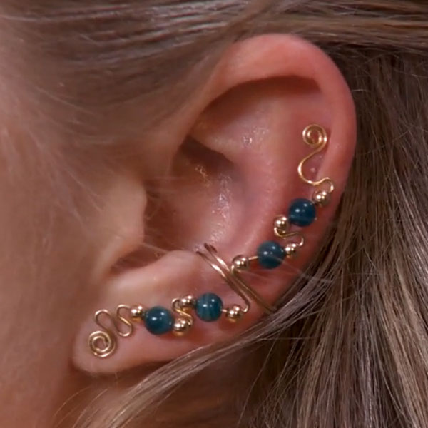 Four Bead Ear Cuff with Top Embellishment