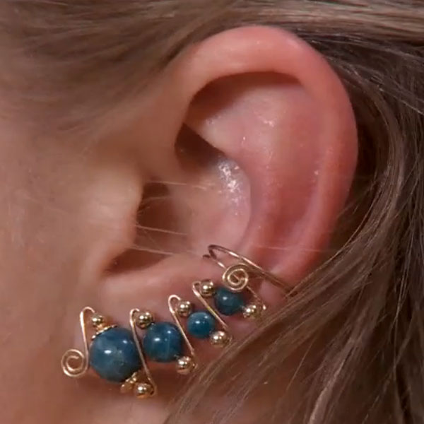 Graduated Bead Ear Cuff with Four Beads