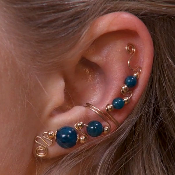 Graduated Bead Ear Cuff with Top Embellishment