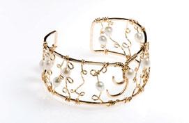 Cold Filligree Wide Cuff Bracelet