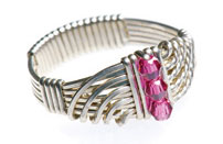 Crystal Wave Wire Wrapped Ring