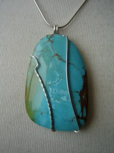 Judy Ellis's Gem Profile- Turquoise - , General Education, , Turquoise and Sterling Silver wire pendant