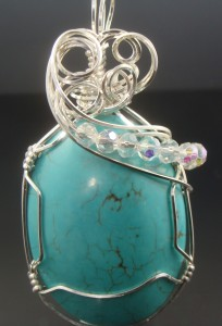 Judy Ellis's Gem Profile- Turquoise - , General Education, , Turquoise Cabochon wire wrapped pendant