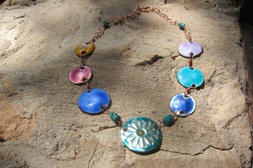 Karen Meador, Ph.D.'s Working with Transparent Enamels Pt 1 - Introduction to transparents on copper, Enameling, Enamel Jewelry Supplies, Enamel, Enameling, Enameled Jewelry, enamel sampler necklace