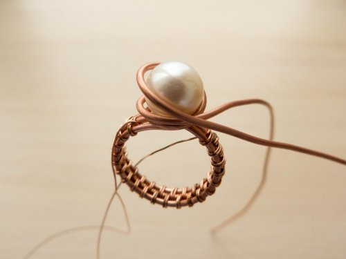 Oksana Truhan's Woven Wire Pearl Ring - , Wire Weaving, Weaving, Wire Weaving, Weaving Wire, Butane Torch, Soldering, Solder, woven wire pearl ring