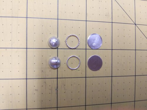 Judy Larson's Pat's Silver Domed Earrings - The pieces are now ready to be assembled:, Metalwork, Dapping, Dapping Jewelry, Filing, Finishing, Drilling, Drill, , sterling domed earrings