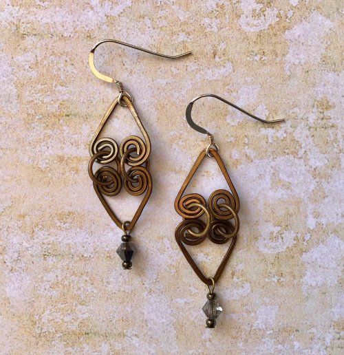 Kristal Wick's Have a Heart Earrings - , Contemporary Wire Jewelry, Spirals, Wire Spiral, Spiral Wire Wrap, have a heart earrings