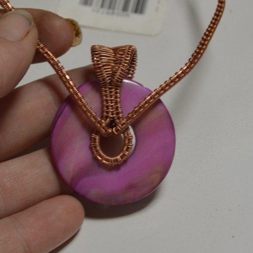 Deborah Kelly's Woven Shell Donut Pendant - , Wire Weaving, Weaving, Wire Weaving, Weaving Wire,  woven shell donut pendant