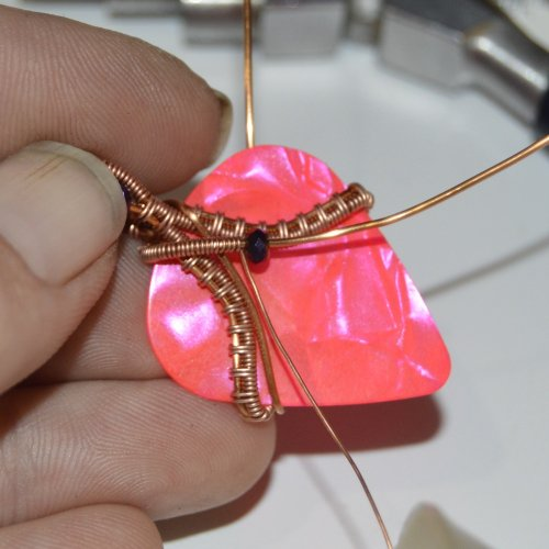 Deborah Kelly's Guitar Pick Pendant - , Wire Weaving, Weaving, Wire Weaving, Weaving Wire, guitar pick pendant