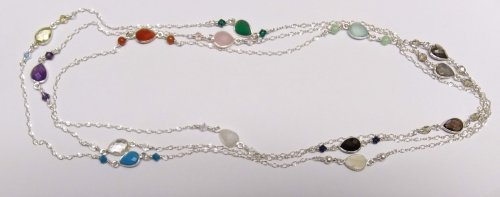 Judy Larson's Multi Gemstone Necklace - , Contemporary Wire Jewelry, Making Chain, Chain Making , Loops, Wire Loop, Wrapped Wire Loop, multi gemstone necklace