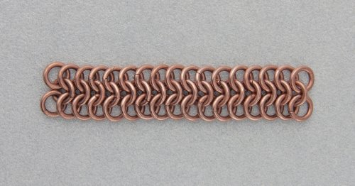Kylie Jones's Copper Braided Chain Maille Bracelet - , Chain Maille Jewelry, Making Chain, Chain Making , Oxidizing Wire, Oxidizing, Antiquing Wire, Antiquing, Add copper jump rings in the 4-in-1 pattern until you have 17 rows.
