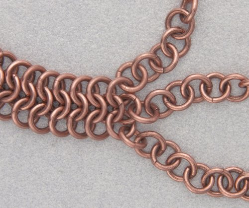 Kylie Jones's Copper Braided Chain Maille Bracelet - , Chain Maille Jewelry, Making Chain, Chain Making , Oxidizing Wire, Oxidizing, Antiquing Wire, Antiquing, Add the other copper chain with an open jump ring to the other side of the bracelet.