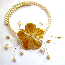 Albina Manning's Endless Summer Necklace - , Contemporary Wire Jewelry, Wire Wrapping, Wrapping, Wire Wrapping Jewelry, Arranging pearls, and other pieces.
