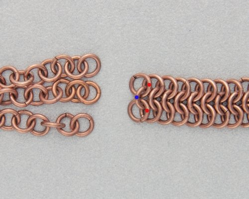 Kylie Jones's Copper Braided Chain Maille Bracelet - , Chain Maille Jewelry, Making Chain, Chain Making , Oxidizing Wire, Oxidizing, Antiquing Wire, Antiquing, Attach the braided chains to the other side of piece of chain maille.