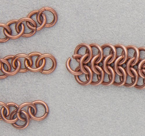 Kylie Jones's Copper Braided Chain Maille Bracelet - , Chain Maille Jewelry, Making Chain, Chain Making , Oxidizing Wire, Oxidizing, Antiquing Wire, Antiquing, Use an open copper jump ring to attach the middle chain.