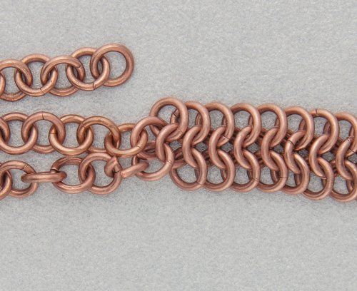 Kylie Jones's Copper Braided Chain Maille Bracelet - , Chain Maille Jewelry, Making Chain, Chain Making , Oxidizing Wire, Oxidizing, Antiquing Wire, Antiquing, Use an open jump ring to attach the outer two chains.