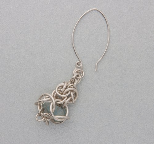 Kylie Jones's Inverted round maille temple earrings - , Chain Maille Jewelry, Making Chain, Chain Making , Attach the ear wires to the tops of the earrings.