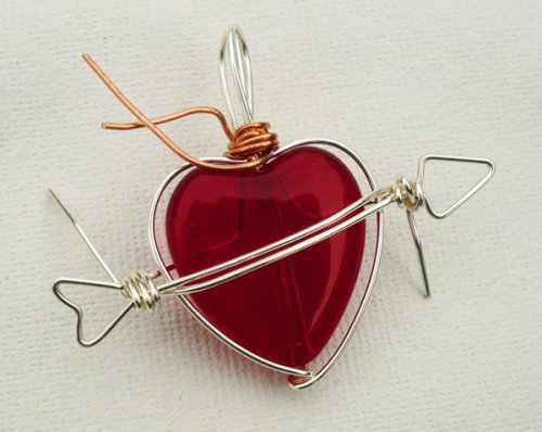 Marty Blu's My Valentine Heart Pendant - , Contemporary Wire Jewelry, Wire Wrapping, Wrapping, Wire Wrapping Jewelry, Finishing the piece and trimming the wire.