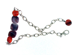 Dale Armstrong's Easy Agate Anklet - , Contemporary Wire Jewelry, Loops, Wire Loop, Wrapped Wire Loop, Add a wrapped headpin charm.