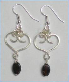 Judy Larson's Heart Earrings with Drops - , Contemporary Wire Jewelry, Loops, Wire Loop, Wrapped Wire Loop, Wire Wrapping, Wrapping, Wire Wrapping Jewelry, Finished heart Earrings with Drops.