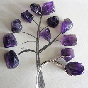 Albina Manning's Tree Pin with Gem Chips - , Contemporary Wire Jewelry, Wire Wrapping, Wrapping, Wire Wrapping Jewelry, Checking sizing.