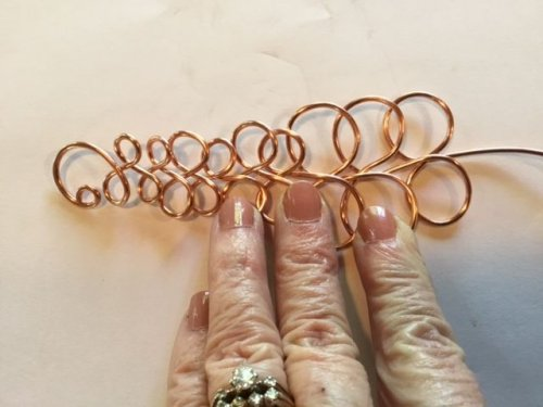 Karen Meador, Ph.D.'s Loopy Loo Graduated Wire Bracelet - , Contemporary Wire Jewelry, Loops, Wire Loop, Wrapped Wire Loop, Spirals, Wire Spiral, Spiral Wire Wrap, create the other side of the bracelet