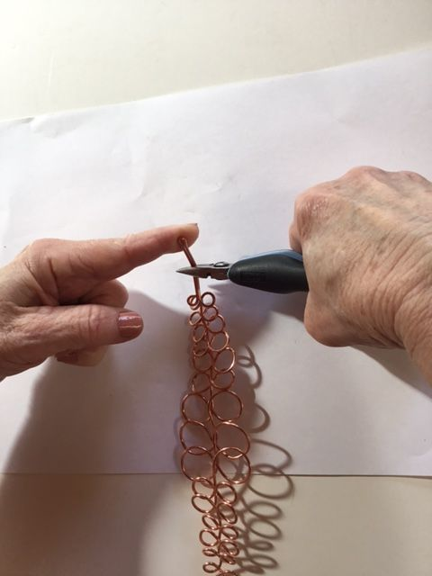 Karen Meador, Ph.D.'s Loopy Loo Graduated Wire Bracelet - , Contemporary Wire Jewelry, Loops, Wire Loop, Wrapped Wire Loop, Spirals, Wire Spiral, Spiral Wire Wrap, bend the double wires into a hook