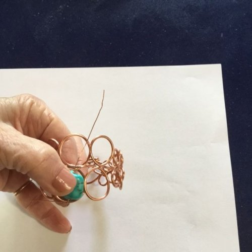 Karen Meador, Ph.D.'s Loopy Loo Graduated Wire Bracelet - , Contemporary Wire Jewelry, Loops, Wire Loop, Wrapped Wire Loop, Spirals, Wire Spiral, Spiral Wire Wrap, string a bead on the wire