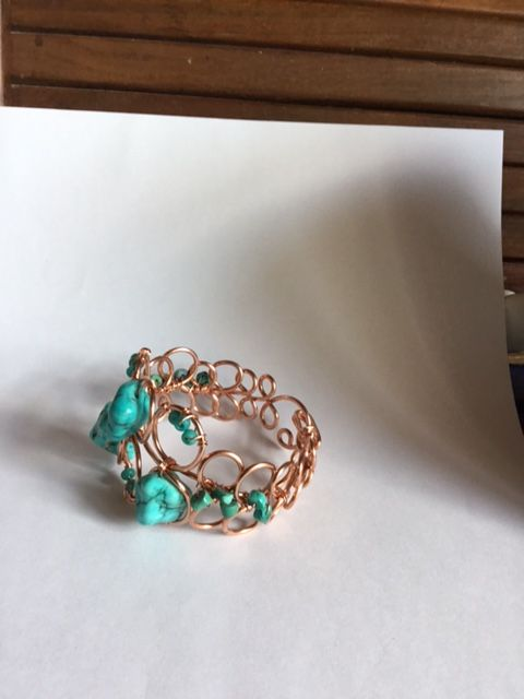 Karen Meador, Ph.D.'s Loopy Loo Graduated Wire Bracelet - , Contemporary Wire Jewelry, Loops, Wire Loop, Wrapped Wire Loop, Spirals, Wire Spiral, Spiral Wire Wrap, embellished bracelet