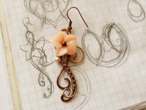 Oksana Truhan's Bloom Wire Earrings - , , , , , , , , , sketch