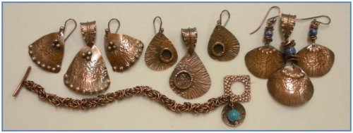 Judy Larson's Component Templates with Heart Earrings and Pendant - , Metalwork, How To Punch Holes, Hole Punching, Punch A Hole, Oxidizing Wire, Oxidizing, Antiquing Wire, Antiquing, Texturing, Copper Sheet components