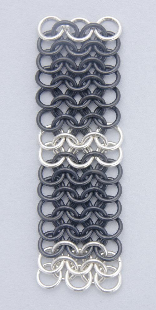 Kylie Jones's Black Niobium and Sterling Chain Maille Bracelet - , Chain Maille Jewelry, Making Chain, Chain Making , add two more rows of silver jump rings
