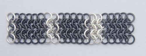 Kylie Jones's Black Niobium and Sterling Chain Maille Bracelet - , Chain Maille Jewelry, Making Chain, Chain Making , add more rows of black jump rings