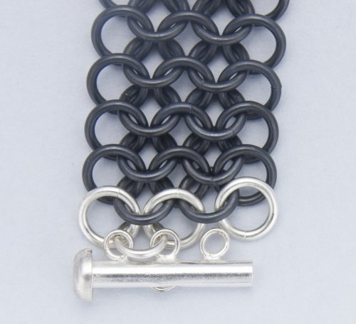 Kylie Jones's Black Niobium and Sterling Chain Maille Bracelet - , Chain Maille Jewelry, Making Chain, Chain Making , attach the clasp
