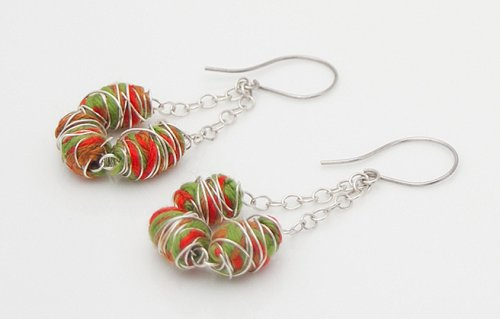 Kylie Jones's Vibrant Wrapped Cotton Earrings  - , Contemporary Wire Jewelry, Wire Wrapping, Wrapping, Wire Wrapping Jewelry, attach ear wires