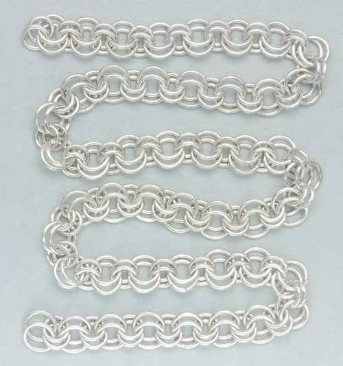 Kylie Jones's Garnet 2-in-2 Chain Maille Necklace - , Chain Maille Jewelry, Making Chain, Chain Making , continue doing 2 in 2 links