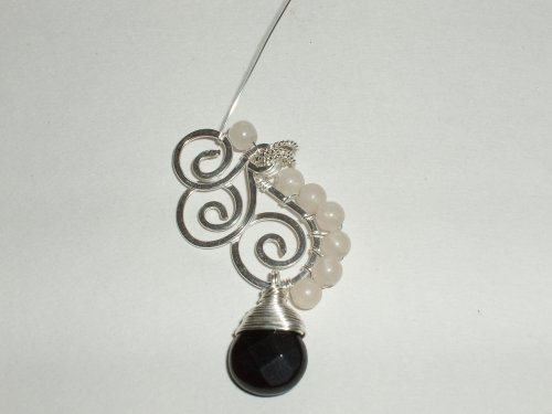Abby Hook's Cirrus Pendant - , Contemporary Wire Jewelry, Coiling, Coiling Wire, Wire Coiling, Lashing, Wire Lashing, Spirals, Wire Spiral, Spiral Wire Wrap, lash the beads