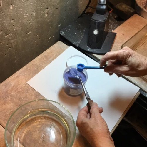 Karen Meador, Ph.D.'s Torch Enameling with Opaque Enamels - , Enameling, Enamel Jewelry Supplies, Butane Torch, Soldering, Solder, Enamel, Enameling, Enameled Jewelry, sift another coat
