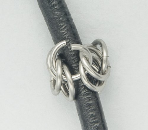 Kylie Jones's Stainless Steel Round Maille Leather Bracelet - , Chain Maille Jewelry, Making Chain, Chain Making , close the rings around the leather