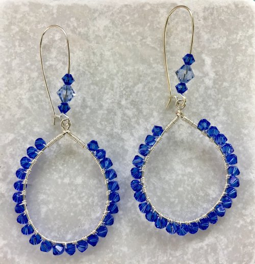 Kristal Wick's Blue Sky Earrings - , Contemporary Wire Jewelry, Coiling, Coiling Wire, Wire Coiling, Lashing, Wire Lashing, blue sky earrings