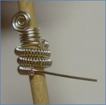 Judy Larson's Coiled End Caps - , Findings & Components, Toggles & Clasps, Earwire & Headpin, Coiling, Coiling Wire, Wire Coiling, Findings, Clasps, Components, Spirals, Wire Spiral, Spiral Wire Wrap, Coiled end cap on mandrel