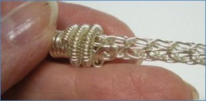 Judy Larson's Coiled End Caps - , Findings & Components, Toggles & Clasps, Earwire & Headpin, Coiling, Coiling Wire, Wire Coiling, Findings, Clasps, Components, Spirals, Wire Spiral, Spiral Wire Wrap, Adding to end cap to viking knit