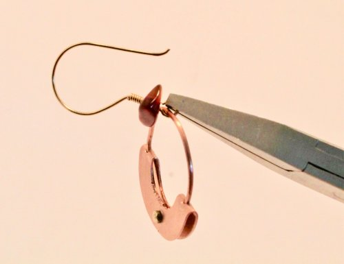 Judy Freyer Thompson's Mezzaluna Earrings - , Metalwork, How To Punch Holes, Hole Punching, Punch A Hole, Jump Rings, Jump Ring, Making Jump Rings, Loops, Wire Loop, Wrapped Wire Loop, Riveting, Riveting Techniques, Wire Rivets, attach ear wires